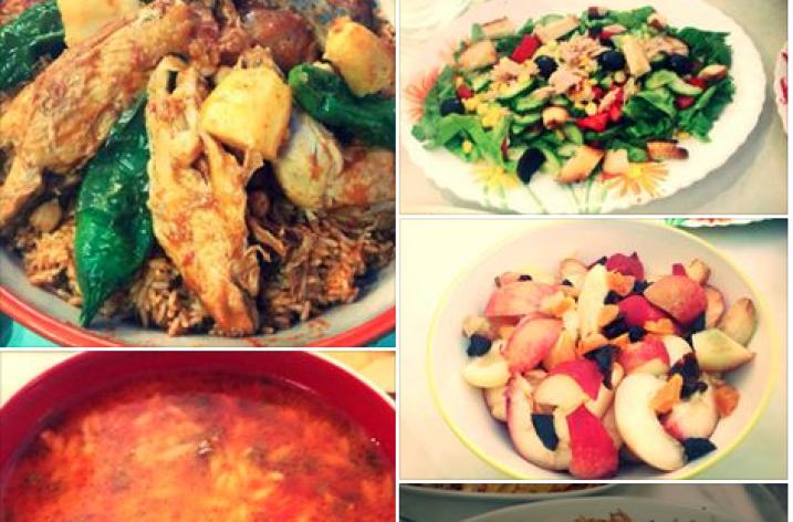 Dbaret Lyoum: brik, riz, lssen asfour et crumble aux pommes